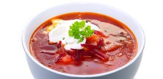 Sopa vegetal, borsch vermelha fotografia de stock