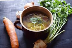 sopa vegetal Casa-feita Alimento saudável do alimento do vegetariano Foto de Stock Royalty Free