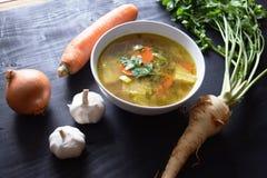 sopa vegetal Casa-feita Alimento saudável do alimento do vegetariano Imagens de Stock Royalty Free