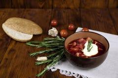 Sopa vegetal com beterrabas, estilo rústico, foco seletivo imagem de stock