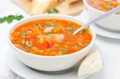 Sopa vegetal com feijões brancos em uma bacia e em uma colher horizontais Fotografia de Stock Royalty Free
