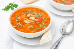 Sopa vegetal com feijões brancos em uma opinião superior da bacia Fotografia de Stock Royalty Free