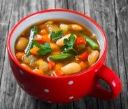 Sopa vegetal com feijões, couve-flor do minestrone, tomates, clo Fotos de Stock