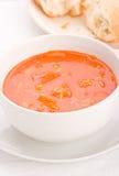 Sopa vegetal com pão em uma placa. Imagem de Stock Royalty Free