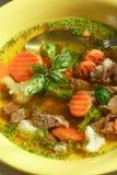 Sopa vegetal con la carne imágenes de archivo libres de regalías