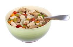 A sopa vegetal da galinha isolou-se Foto de Stock
