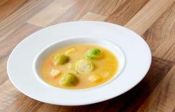 Sopa vegetal de las coles de Bruselas con la zanahoria, el apio y el perejil Fotos de archivo libres de regalías