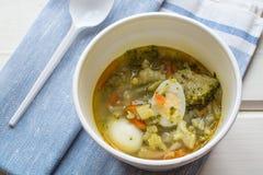 Sopa vegetal de um brokolla e ovos de codorniz em uma placa descartável, uma colher plástica fotografia de stock royalty free