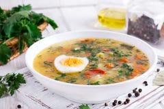 Sopa vegetal do verão com feijões, ervilhas, milho, cenouras, galinha, ovo, prato saudável saboroso para a dieta Imagem de Stock