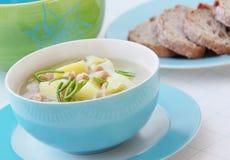 Sopa vegetal dos grãos-de-bico com alho-porro e batatas Fotos de Stock Royalty Free