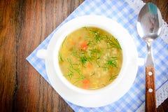 sopa vegetal en una placa blanca imagenes de archivo