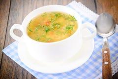 sopa vegetal en una placa blanca Foto de archivo libre de regalías