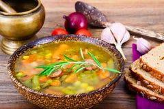 Sopa vegetal Nutrición de la aptitud de la dieta foto de archivo libre de regalías