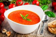 Sopa vegetariana hecha en casa de la crema del tomate Fotografía de archivo