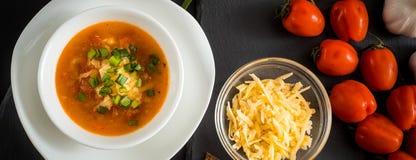 Sopa vegetariana hecha en casa de la crema del tomate en el cuenco blanco en la tabla de madera imagenes de archivo
