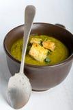Sopa verde da polpa com salsa e pão torrado Imagens de Stock Royalty Free