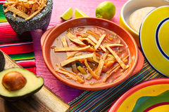 Sopa y aguacate mexicanos de la tortilla Foto de archivo libre de regalías