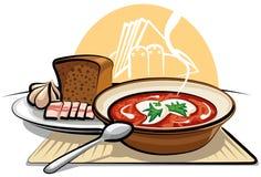 Sopa y ajo del Borscht con el jamón Imagen de archivo libre de regalías