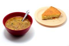 Sopa y Cornbread Imágenes de archivo libres de regalías