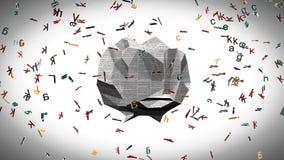 Sopa y periódico del alfabeto ilustración del vector