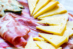Soparnik with prosciutto and cheese. Croatian typical traditional food, soparnik and prosciutto and cheese Royalty Free Stock Photo
