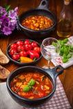 Sopas de vegetais na tabela Imagens de Stock