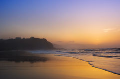 Sopelana beach at sunset. Sopelana beach and coastline at sunset royalty free stock image