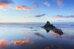 Sopelana beach at sunset. With couds reflections stock photos