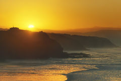 Sopelana coast at sunset. Sopelana coast and beach at the sunset royalty free stock photos