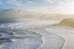 Sopelana coast with waves. At sunrise Royalty Free Stock Photos