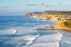 Sopelana coast with waves Stock Photos