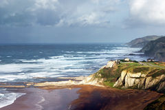 Sopelana coastline. With stormy weather royalty free stock photography
