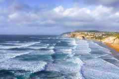 Sopelana coastline with waves. Sopelana coastline with some waves stock photos
