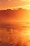 Sopelana misty beach at sunset Royalty Free Stock Photo
