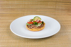 SOPES. Are traditional Mexican Food. They are made with corn wheat dough, beans. lettuce, salsa, pulled meat, and a touch of spices royalty free stock photos