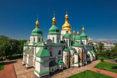 Sophia Cathedral arial. Arial view at Saint Sophia`s Cathedral Kiev, Ukraine Stock Image