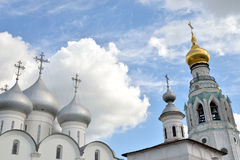 Sophia Cathedral and bell tower. Sophia Cathedral and bell tower in Vologda Kremlin, Russia stock images
