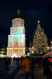 Sophia Cathedral and Christmas decorations at night in Kiev Ukraine Christmas decorations in blur at night in Kiev Royalty Free Stock Image