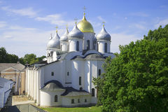 Sophia Cathedral close-up day in July. Velikiy Novgorod. Russia royalty free stock images