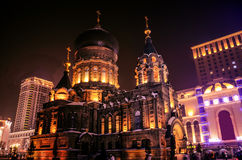 Sophia cathedral. Is located in the northern city of Harbin Sophia cathedral in the night still sends out a solemn atmosphere stock image