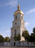 Sophia Cathedral and St. Sophia Square. Kiev, Ukraine. Big beautiful antiquity romantic campanile of st. Sophievskyi Cathedral in center place of Kyiv. Front Stock Images