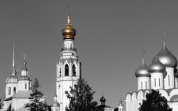 Sophia cathedral in the Vologda, Russia. Sophia cathedral in the Vologda city, Russia. Summer sunny day. White church and bell tower Stock Photos