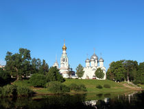 Sophia cathedral in the Vologda, Russia. Sophia cathedral in the Vologda city, Russia. Summer sunny day. White church and bell tower royalty free stock image