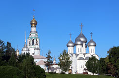 Sophia cathedral in the Vologda, Russia. Sophia cathedral in the Vologda city, Russia. Summer sunny day. White church and bell tower Royalty Free Stock Photography