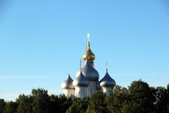 Sophia cathedral in the Vologda, Russia. Sophia cathedral in the Vologda city, Russia. Summer sunny day. White church and bell tower Stock Photo