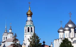 Sophia cathedral in the Vologda, Russia. Sophia cathedral in the Vologda city, Russia. Summer sunny day. White church and bell tower royalty free stock photo