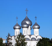 Sophia cathedral in the Vologda, Russia. Sophia cathedral in the Vologda city, Russia. Summer sunny day. White church. Top part of the building Royalty Free Stock Photos