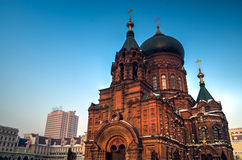 Sophia Church harbin. Harbin construction art museum,St. Sophia Church stock photo