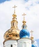Sophia church in Tobolsk Kremlin. Siberia, Russia. Gold domes of St. Sophia church in Tobolsk Kremlin. Siberia, Russia Stock Photo