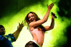 Sophia del Carmen (singer that has already worked with Pitbull and Akon) at Primavera Pop Royalty Free Stock Photo